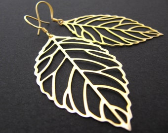 Hoja - Simple gold plated leaf charms Earrings . For Her. Gift for Her. Gift Under 10