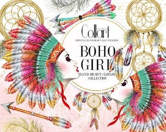 Tribal Clipart, Bohemian Clip Art, Native American, Fashion Illustration, Watercolor Clipart, Hand Drawn Clip Art, Dreamcatcher Feathers