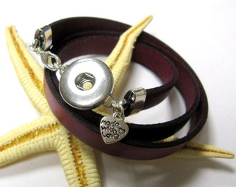 SMAUGGS leather wrap bracelet for snap charms (popper snap), clip for buttons, to wrap 3 times, colourchoice