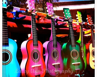 Colorful Spanish Guitars color photograph cinco de mayo rainbow fiesta 8x8 4x4