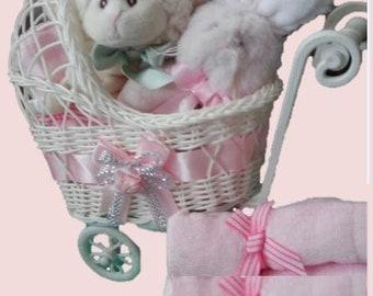 Wicker Stroller Gift Basket for Baby Girl