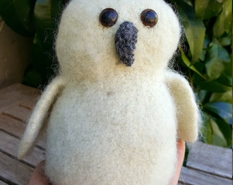 White Fuzzy Owl--Hand knit and Felted