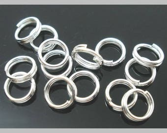 100 jumprings DOUBLES, 6 x 0.7 mm silver open, round