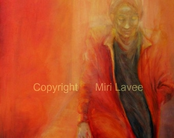 Original Painting, woman painting Portrait Figure Painting Contemporary Art abstract, oil panting modern art, bedroom wall art by Miri Lavee