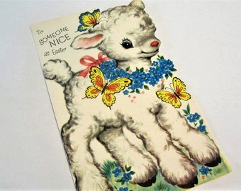 """Easter Greeting Card """"To Someone Nice"""" with Cute Lamb and Butterflies 1960s Easter Card Used"""