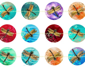 Bright Dragonfly Pins, Magnets or Flatback Buttons, 1 Inch or 2.25 Inch, Different Quantities Available