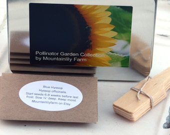 Bee Garden Kit, Pollinator Garden Seeds, Non GMO Seeds, Heirloom Seeds in Gift Box, Bee Keeper Gift Set, Natural Gift