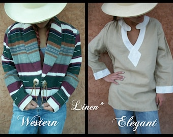 Linen Blouse - Southwestern Short Jacket Large or Elegant Taupe Tunic Medium - Summer High Fashion Casual Comfort - Jones New York Detailed