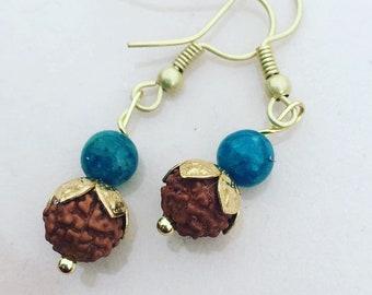 Rudraksha and apatite earrings