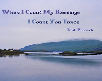 Irish Blessing, Ocean Landscape, Ireland Photography, Irish Proverb, Wall Art, Irish Decor, 5 x 7 Print,  Blue Decor, Fine Art Photograph