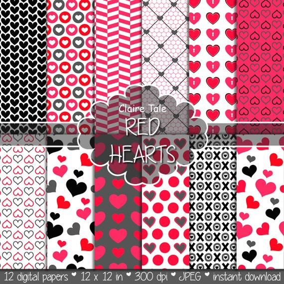 """Valentine's day digital paper: """"RED HEARTS"""" valentine's day backgrounds with hearts in red and black / valentine's hearts patterns"""