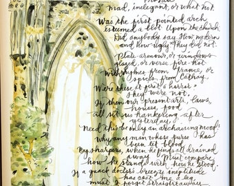 """C  S  Lewis (Narnia Author) poem """"On a Vulgar Error"""" gothic cathedral hand-lettered watercolor print classic Inklings"""