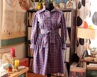 vintage plaid day dress with attached waist tie - pink green & blue APPROX womens medium large