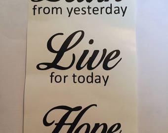 Learn live hope vinyl decal wine bottle sticker DIY light up bottle