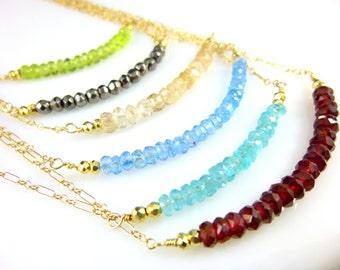 Gemstone Bar Necklace, Delicate 14k Gold Fill Chain, Gemstone Chakra Necklace, Beaded Bar Necklace, Healing Crystals Necklace