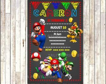 Super Mario Bros Chalkboard Invitation, printable Mario Bros party Invitation, Chalkboard Mario Bros Invitation - Digital File