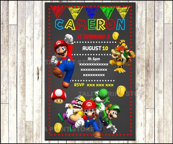 Super Mario Bros Chalkboard Invitation printable Mario Bros