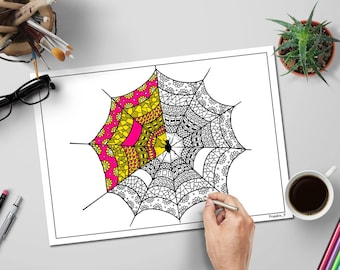 Halloween coloring pages spider web, Zentangle spiderweb, Zentangle download, instant download adult coloring pages, Halloween coloring book