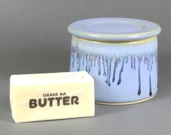 Powder Blue/ Blue Drip, French Butter Dish, Butter Crock, Butter Bell, French Butter Keeper