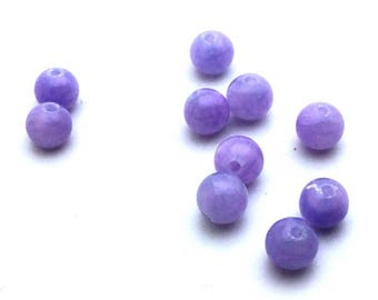 x 10 purple 6mm natural mountain stone beads: PG0067