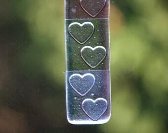 Purple hearts fused glass suncatcher / sun catcher