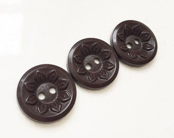 nos vintage chocolate brown buttons with sunflower design--matching lot of 3