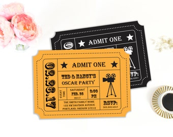 Oscar Party Invitation, Movie Night Party, Movie Ticket, Ticket Stub, Ticket Invitation,  Invitation Template, Printable Invitation
