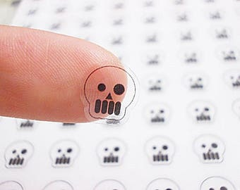 CLEAR Planner Stickers, Skull Planner Stickers, Skull Planner Stickers, Skull Stickers, Halloween Planner Stickers, Ghost Stickers (st117#)
