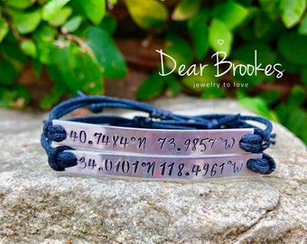 Latitude Longitude Bracelet, Coordinates, Coordinates Bracelet, Gift Idea, Hand Stamped Bracelet