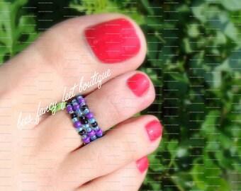 Stacking Toe Ring, Stacking Rings, Toe Ring, Ring, Black Beads, Purple Beads, Blue Beads, Pattern Design, Stretch Bead Toe Ring