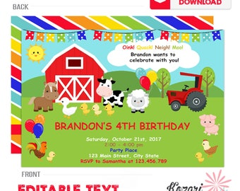 Editable Farm Invitation, Birthday Invitation, Girl Boy Birthday Invitation, Printable Invitation