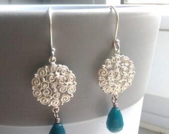 Delicate dangle earrings with cyan aragonite drops