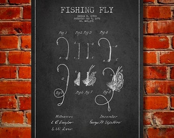 1892 Fishing Fly Patent, Canvas Print, Wall Art, Home Decor, Gift Idea