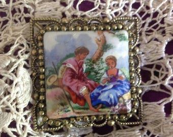 Romance, romantic Decor cabochon in Limoges porcelain brooch