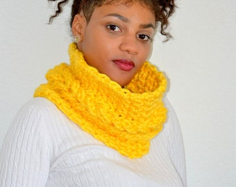 Crochet Yellow Faux Cable Cowl/ Faux Cable Cowl/ Cable Neck Warmer/ Crochet Neck Warmer/ Winter Cowl/ Winter Cowl Scarf/ Scarf
