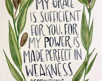 My Grace Is Sufficient For You, olive wreath watercolor, hand-lettered scripture print