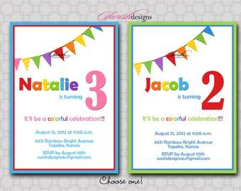 Rainbow Birthday Invitation - bunting - Digital Printable Birthday Invite