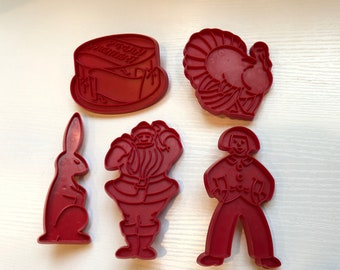 Lot of 5 Vintage Red Tupperware Cookie Cutters