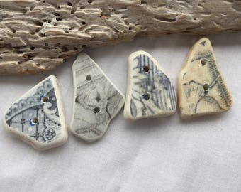 Medium hand made,Scottish Sea Pottery Buttons  B 21.6.17.1