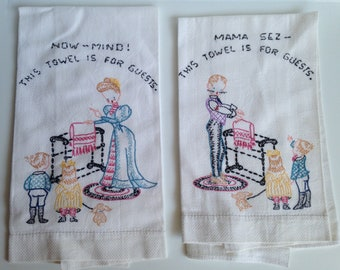 Vintage White Pique Hand Embroidered Tea Towels 17 x 22