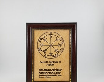Seventh Pentacle of Jupiter.  This laser engraved wood plaque is framed  Size is 5 x 7 inches.