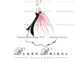 Blush Bridal OOAK Character Illustrated Premade Logo design-Will not be resold- Bridal Dress- Event Dressing