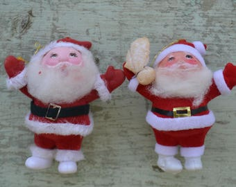 Vintage Christmas Velvet Santa Decorations Ornaments Lot of 2