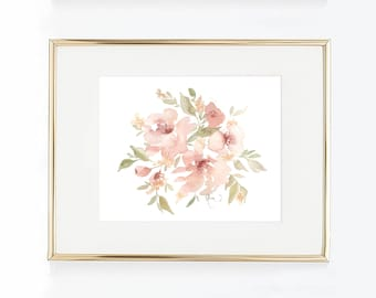 Garden Flower Watercolor Print, Muted Pink