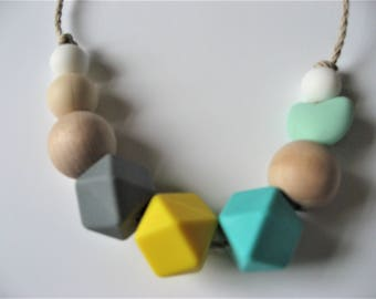 Yellow and Turqoise Teething Necklace for Mums