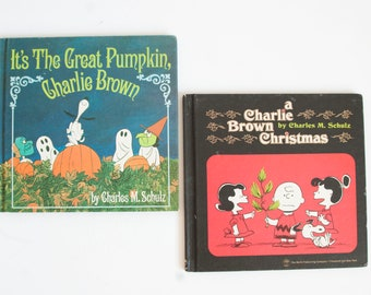 Vintage Peanuts Illustrated Book by Charles M. Schulz, A Charlie Brown Christmas, It's the Great Pumpkin Charlie Brown (FIRST Printing)