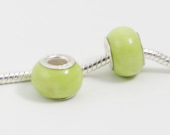 3 Beads - Easter Grass Green Lampwork Silver European Bead Charm E0082