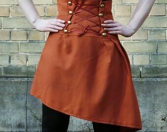 Steampunk skirt, brown skirt , high waist corset skirt, laced skirt, studs skirt, black steampunk skirt, brown skirt, cosplay skirt, MASQ