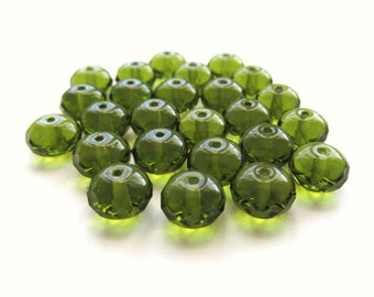 Olivine Green Czech Glass Faceted Rondelles, 8mm x 6mm - 25 pieces