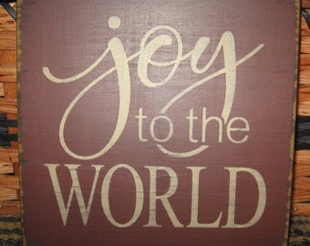 Primitive Country Joy to the World or Merry Christmas  sm sq sign Christmas~winter